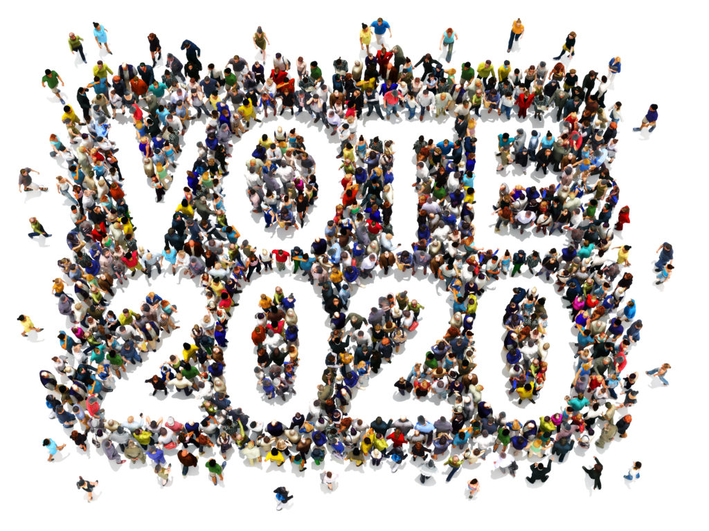 Drawing of people surrounding the words Vote 2020
